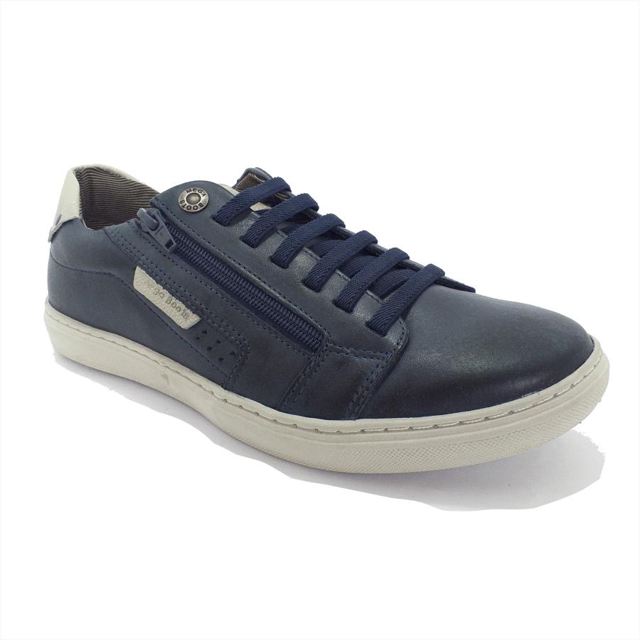 Sapatenis Mega Boots Couro Legítimo Cadarço em Elástico e Ziper Lateral Fora Masculino - 15037