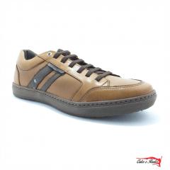 Sapatenis Mega Boots Masculino Couro Cadarço Elastico - 16003